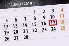Καθημερινό στις 17 Φεβρουαρίου χρονοπρογραμματιστών 2018 επιχειρησιακών ημερολογίων μήνα υποβάθρου Στοκ φωτογραφία με δικαίωμα ελεύθερης χρήσης