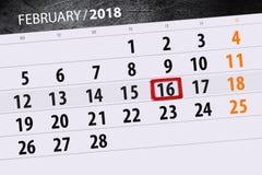 Καθημερινό στις 16 Φεβρουαρίου χρονοπρογραμματιστών 2018 επιχειρησιακών ημερολογίων μήνα υποβάθρου Στοκ εικόνες με δικαίωμα ελεύθερης χρήσης