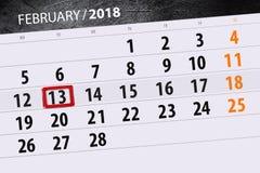 Καθημερινό στις 13 Φεβρουαρίου χρονοπρογραμματιστών 2018 επιχειρησιακών ημερολογίων μήνα υποβάθρου Στοκ φωτογραφία με δικαίωμα ελεύθερης χρήσης