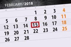 Καθημερινό στις 15 Φεβρουαρίου χρονοπρογραμματιστών 2018 επιχειρησιακών ημερολογίων μήνα υποβάθρου Στοκ φωτογραφία με δικαίωμα ελεύθερης χρήσης
