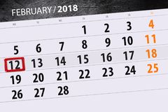 Καθημερινό στις 12 Φεβρουαρίου χρονοπρογραμματιστών 2018 επιχειρησιακών ημερολογίων μήνα υποβάθρου Στοκ Εικόνα