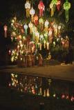 Καθιέρωση μοναχών για Loy Krathong σε Chiang Mai Στοκ φωτογραφία με δικαίωμα ελεύθερης χρήσης