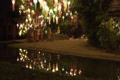 Καθιέρωση μοναχών για Loy Krathong σε Chiang Mai Στοκ φωτογραφίες με δικαίωμα ελεύθερης χρήσης