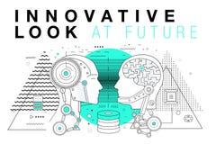 Καθιερώνοντα τη μόδα σχεδιαγράμματα συστημάτων καινοτομίας στη polygonal γραμμή περιγράμματος comp Στοκ Εικόνα