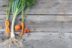 Καθιερώνοντα τη μόδα λαχανικά στο ξύλο σιταποθηκών Στοκ φωτογραφία με δικαίωμα ελεύθερης χρήσης