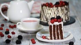 Καθιερώνον τη μόδα αγροτικό κάθετο υψηλό κέικ ρόλων με τη σοκολάτα, την κρέμα βανίλιας και τα μούρα απόθεμα βίντεο