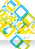 Καθιερώνον τη μόδα διανυσματικό σχεδιάγραμμα κάλυψης ετήσια εκθέσεων ldesign με τα τετράγωνα Στοκ Εικόνες