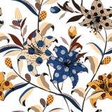 Καθιερώνον τη μόδα διανυσματικό floral άνευ ραφής σχέδιο στο ζωηρόχρωμο λαϊκό ύφος τέχνης αφθονία-μέσα με το σημείο Πόλκα και ριγ απεικόνιση αποθεμάτων