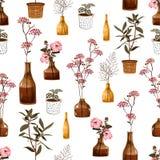 Καθιερώνον τη μόδα σύγχρονο άνευ ραφής σχέδιο με τα δημιουργικά διακοσμητικά λουλούδια στο βάζο, βοτανικό στο δοχείο, στο διάνυσμ απεικόνιση αποθεμάτων