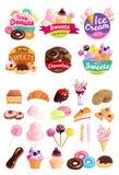 Καθιερώνον τη μόδα σύνολο εικονιδίων αυτοκόλλητων ετικεττών γλυκών διανυσματική απεικόνιση