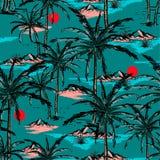 Καθιερώνον τη μόδα χέρι που σύρονται και νησί σκίτσων γραμμών θερινό, παραλία και παλάμη ελεύθερη απεικόνιση δικαιώματος