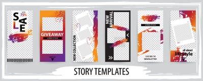 Καθιερώνον τη μόδα editable πρότυπο για τις κοινωνικές ιστορίες δικτύων, διανυσματική απεικόνιση ελεύθερη απεικόνιση δικαιώματος