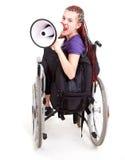 Καθιερώνον τη μόδα κορίτσι με megaphone στην αναπηρική καρέκλα Στοκ Εικόνες