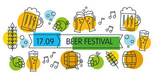 Καθιερώνον τη μόδα σύγχρονο ύφος του εμβλήματος ή της τυπωμένης ύλης Ιστού Έννοια φεστιβάλ μπύρας Ελεύθερη απεικόνιση δικαιώματος