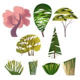 Καθιερώνον τη μόδα σύνολο διαφορετικών δέντρων και Μπους διανυσματική απεικόνιση