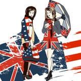 Καθιερώνον τη μόδα υπόβαθρο μόδας με τα κορίτσια και την αγγλική και ΑΜΕΡΙΚΑΝΙΚΗ σημαία Στοκ Φωτογραφία