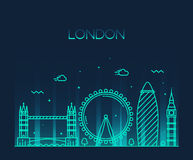 Καθιερώνον τη μόδα ύφος τέχνης γραμμών απεικόνισης του Λονδίνου Αγγλία Στοκ φωτογραφία με δικαίωμα ελεύθερης χρήσης