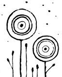 Καθιερώνουσα τη μόδα αφηρημένη εσωτερική αφίσα Συρμένα χέρι λουλούδια στο άσπρο υπόβαθρο Βρώμικο ύφος Grunge διανυσματική απεικόνιση