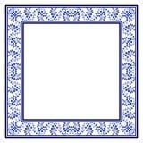 Καθιερώνουσα τη μόδα μπλε εθνική διακόσμηση με μορφή ενός τετραγωνικού πλαισίου Το ύφος της εθνικής ζωγραφικής στην πορσελάνη διανυσματική απεικόνιση