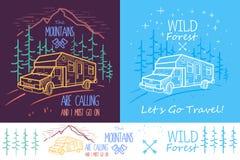 Καθιερώνουσα τη μόδα συλλογή δύο απεικονίσεων με τα δέντρα, το φορτηγό, το δρόμο και τα βουνά στο σκοτεινό υπόβαθρο Μπορέστε να χ απεικόνιση αποθεμάτων