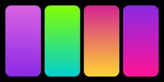 Καθιερώνουσα τη μόδα συλλογή 2019 χρώματος κλίσεων παλετών όπως σύνολο πλαστικού ροζ, του UFO πράσινων, πορφύρας πρωτονίων και κο διανυσματική απεικόνιση