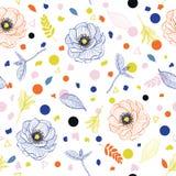 Καθιερώνουσα τη μόδα φωτεινή θερινή γραμμή floral και μίγμα φύλλων με το ζωηρόχρωμο εκτάριο διανυσματική απεικόνιση