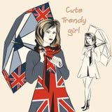 Καθιερώνουσα τη μόδα ομπρέλα λαβής κοριτσιών μόδας με τη βρετανική τυπωμένη ύλη σημαιών Στοκ Φωτογραφία
