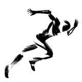 Καθιερώνουσα τη μόδα τυποποιημένη μετακίνηση απεικόνισης, τρέχοντας άτομο, κινεζικό και ιαπωνικό ύφος βουρτσών μελανιού ελεύθερη απεικόνιση δικαιώματος