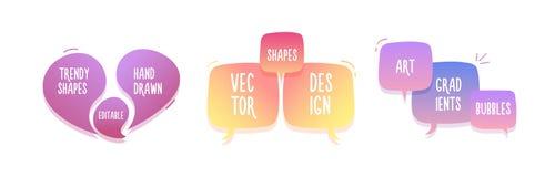 Καθιερώνουσες τη μόδα συρμένες χέρι αφηρημένες γεωμετρικές φυσαλίδες Διανυσματικό έμβλημα doodle που τίθεται για το κείμενό σας μ απεικόνιση αποθεμάτων