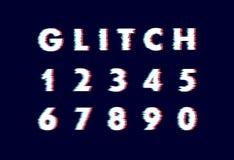 Καθιερώνων τη μόδα διαστρεβλωμένος ύφος χαρακτήρας δυσλειτουργίας Διανυσματικό αλφάβητο απεικόνισης επιστολών και αριθμών διανυσματική απεικόνιση
