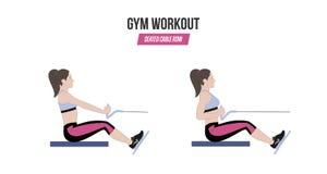 Καθισμένη σειρά καλωδίων athletic exercises Ασκήσεις σε μια γυμναστική workout Απεικόνιση ενός ενεργού διανύσματος τρόπου ζωής διανυσματική απεικόνιση