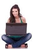 καθισμένη lap-top γυναίκα Στοκ Εικόνα
