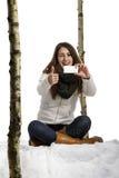 καθισμένο εικόνα χιόνι πο&upsil Στοκ φωτογραφίες με δικαίωμα ελεύθερης χρήσης