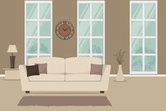 Καθιστικό με έναν άσπρο καναπέ και καφετιά μαξιλάρια Στοκ Φωτογραφία