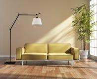 Καθιστικό με έναν κίτρινο καναπέ από το παράθυρο Στοκ Φωτογραφίες
