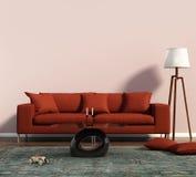 Καθιστικό με έναν κόκκινο καναπέ και μια γεωμετρική κουβέρτα Στοκ φωτογραφία με δικαίωμα ελεύθερης χρήσης
