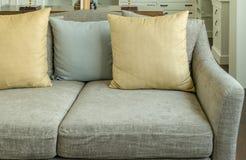 Καθιστικό με τα κίτρινα και γκρίζα μαξιλάρια στον γκρίζο καναπέ βελούδου Στοκ εικόνα με δικαίωμα ελεύθερης χρήσης