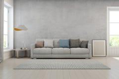 Καθιστικό με το συμπαγή τοίχο στο σύγχρονο σπίτι, εσωτερικό σχέδιο σοφιτών Στοκ Εικόνες