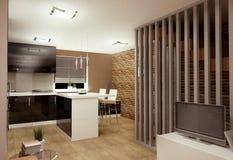 Καθιστικό με kitchenette Στοκ Εικόνες