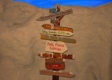 Καθοδηγήστε με τις πολλαπλάσιες κατευθύνσεις και τις πόλεις στο βράχο backround στο θεματικό πάρκο Seaworld στοκ φωτογραφία