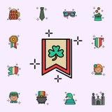 Σημαία, εικονίδιο τριφυλλιού Καθολικό εικονιδίων ημέρας StPatricks που τίθεται για τον Ιστό και κινητό απεικόνιση αποθεμάτων