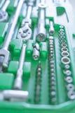 Καθολικό σύνολο εργαλείων για την επισκευή αυτοκινήτων Υπόβαθρο εργαλείων χεριών στοκ φωτογραφία