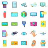 Καθορίστε τα εικονίδια ηλεκτρονικής καθορισμένα, ύφος κινούμενων σχεδίων ελεύθερη απεικόνιση δικαιώματος