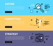 Καθορίστε την εμπορική στρατηγική τα εμβλήματα που τίθεντα&iot διανυσματική απεικόνιση