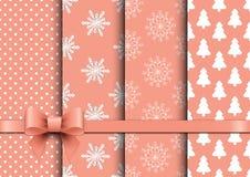 Καθορισμένα άνευ ραφής διανυσματικά υπόβαθρα Χριστουγέννων Στοκ εικόνες με δικαίωμα ελεύθερης χρήσης