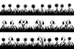 Καθορισμένα άνευ ραφής χλόη και λουλούδια σκιαγραφιών Στοκ Εικόνες