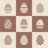 Καθορισμένα αυγά Πάσχας εικονιδίων καφετιά Στοκ Εικόνες