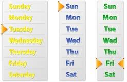 Καθορισμένα αφηρημένα εβδομαδιαία ημερολόγια με το δείκτη βελών Στοκ Εικόνα