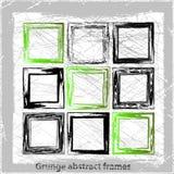 Καθορισμένα αφηρημένα πλαίσια grunge. Διανυσματικά υπόβαθρα. Στοκ Εικόνες