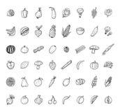 καθορισμένα λαχανικά εικονιδίων καρπού επίσης corel σύρετε το διάνυσμα απεικόνισης Στοκ Φωτογραφία